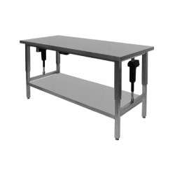 Höj- och sänkbar rostfri arbetsbänk m/ hyllplan - 60 cm djup